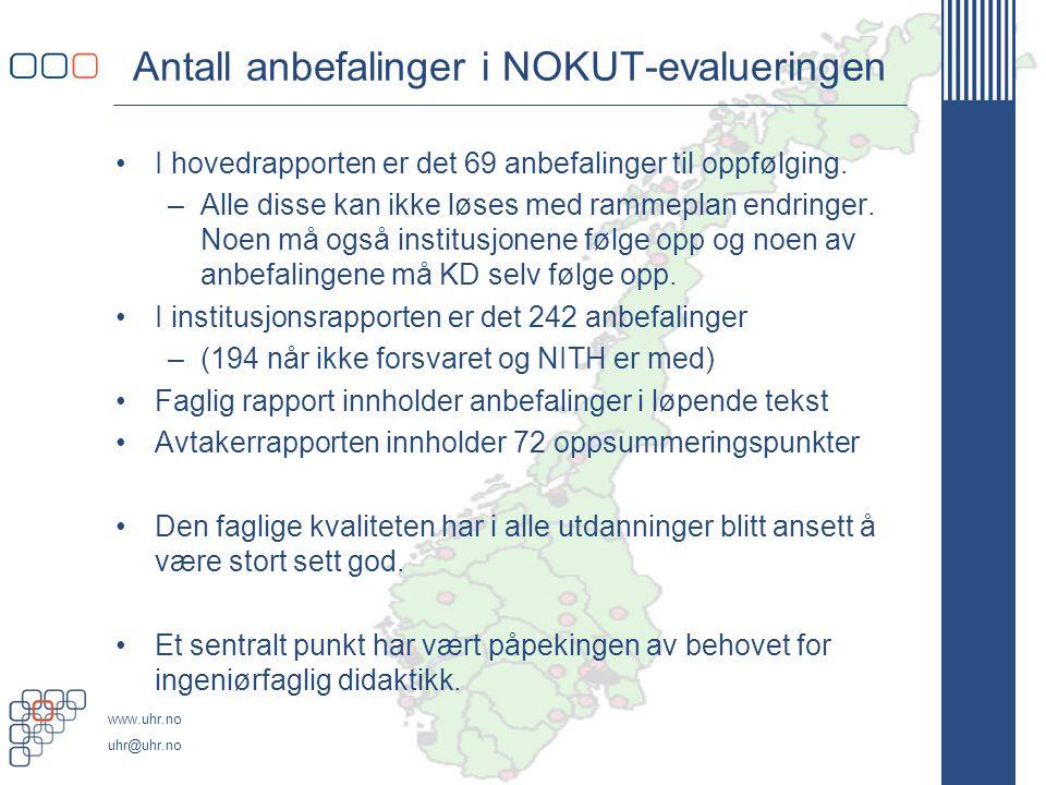 www.uhr.no uhr@uhr.no Antall anbefalinger i NOKUT-evalueringen •I hovedrapporten er det 69 anbefalinger til oppfølging.