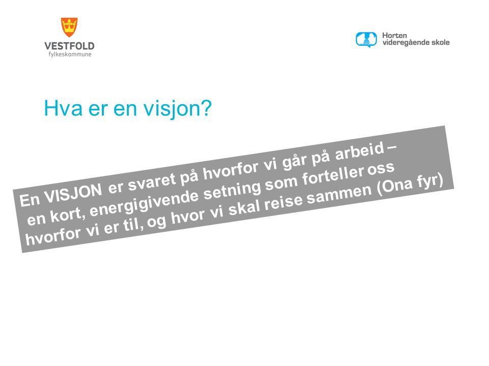 Hva er en visjon? En VISJON er svaret på hvorfor vi går på arbeid – en kort, energigivende setning som forteller oss hvorfor vi er til, og hvor vi ska