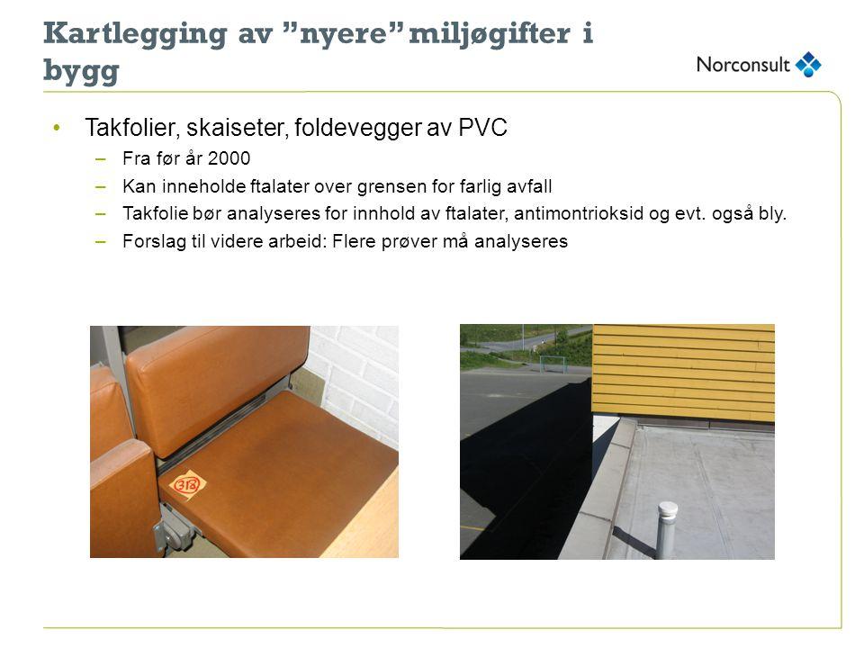 """Kartlegging av """"nyere"""" miljøgifter i bygg •Takfolier, skaiseter, foldevegger av PVC –Fra før år 2000 –Kan inneholde ftalater over grensen for farlig a"""