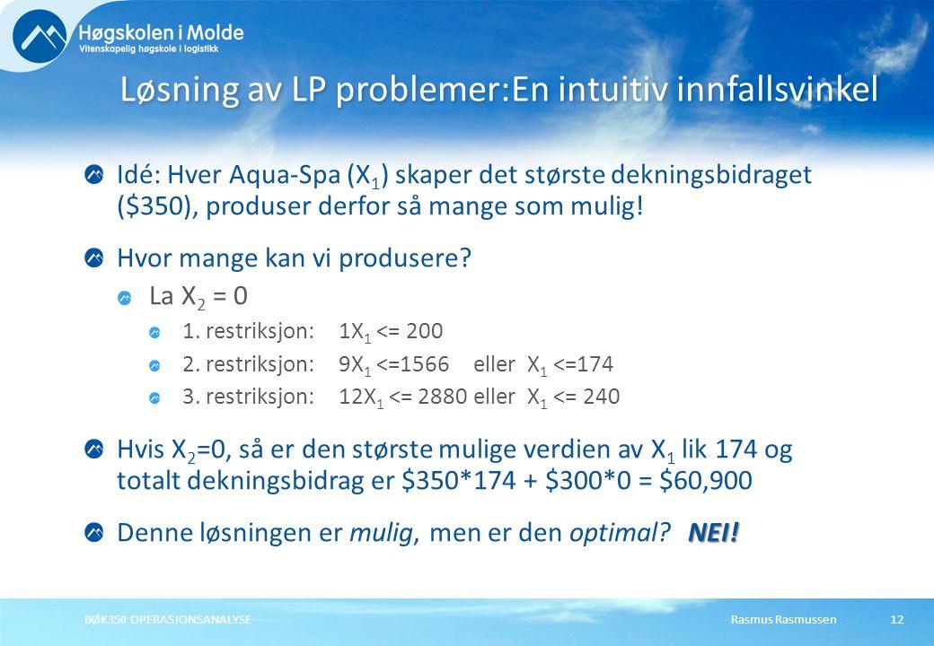 Rasmus RasmussenBØK350 OPERASJONSANALYSE12 Idé: Hver Aqua-Spa (X 1 ) skaper det største dekningsbidraget ($350), produser derfor så mange som mulig! H