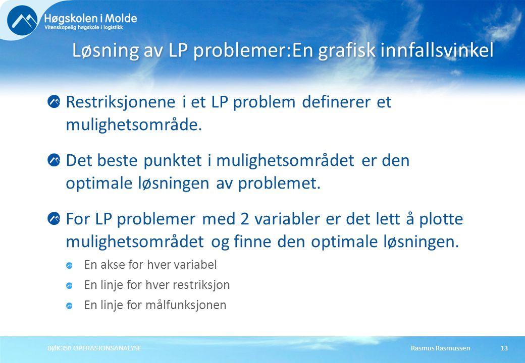 Rasmus RasmussenBØK350 OPERASJONSANALYSE13 Restriksjonene i et LP problem definerer et mulighetsområde. Det beste punktet i mulighetsområdet er den op