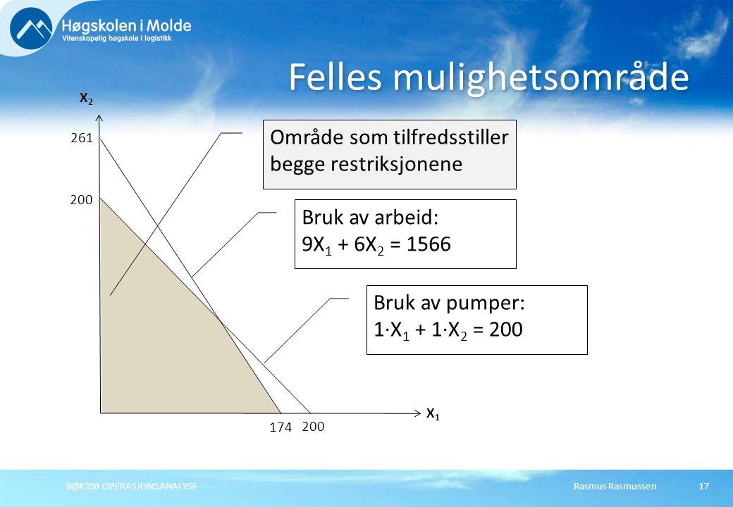 Rasmus Rasmussen17 Felles mulighetsområde X1X1 X2X2 200 Bruk av pumper: 1·X 1 + 1·X 2 = 200 261 174 Bruk av arbeid: 9X 1 + 6X 2 = 1566 Område som tilf