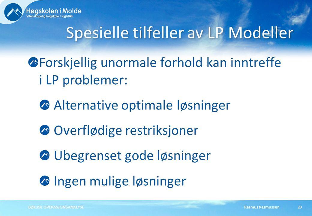Rasmus RasmussenBØK350 OPERASJONSANALYSE29 Forskjellig unormale forhold kan inntreffe i LP problemer: Alternative optimale løsninger Overflødige restr