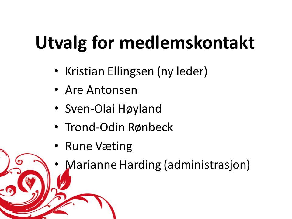 Utvalg for medlemskontakt • Kristian Ellingsen (ny leder) • Are Antonsen • Sven-Olai Høyland • Trond-Odin Rønbeck • Rune Væting • Marianne Harding (ad