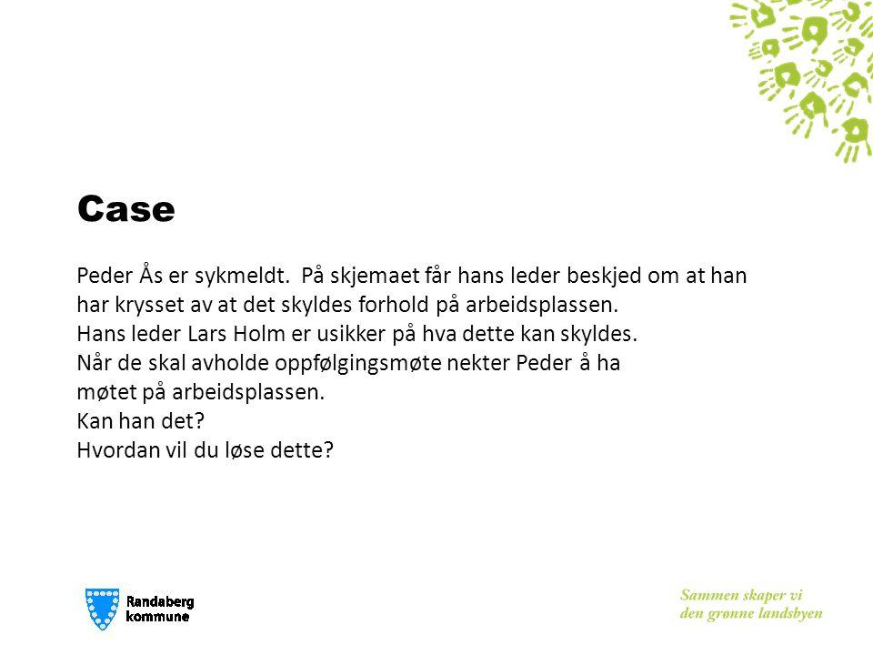 Case Peder Ås er sykmeldt. På skjemaet får hans leder beskjed om at han har krysset av at det skyldes forhold på arbeidsplassen. Hans leder Lars Holm