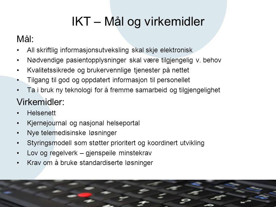 IKT – Mål og virkemidler Mål: •All skriftlig informasjonsutveksling skal skje elektronisk •Nødvendige pasientopplysninger skal være tilgjengelig v.