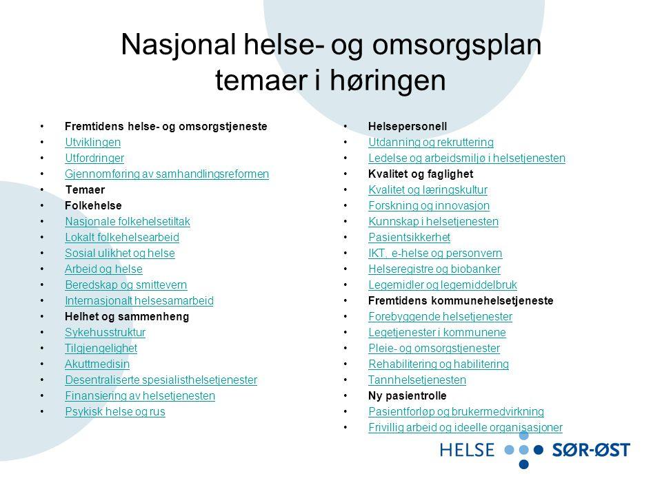 Nasjonal helse- og omsorgsplan temaer i høringen •Fremtidens helse- og omsorgstjeneste •UtviklingenUtviklingen •UtfordringerUtfordringer •Gjennomførin