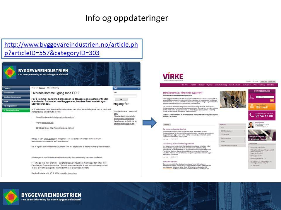 Info og oppdateringer http://www.byggevareindustrien.no/article.ph p articleID=557&categoryID=303