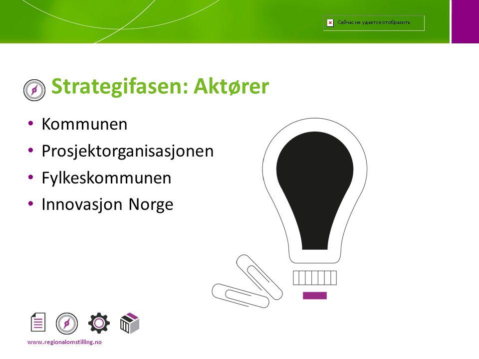 • Kommunen • Prosjektorganisasjonen • Fylkeskommunen • Innovasjon Norge Strategifasen: Aktører www.regionalomstilling.no