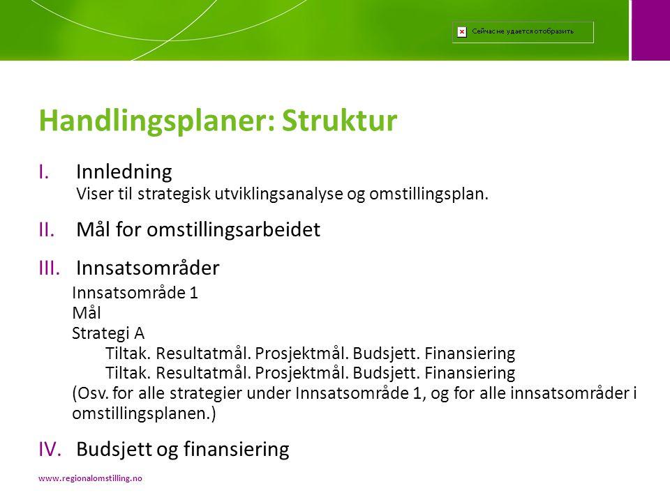I.Innledning Viser til strategisk utviklingsanalyse og omstillingsplan. II.Mål for omstillingsarbeidet III.Innsatsområder Innsatsområde 1 Mål Strategi