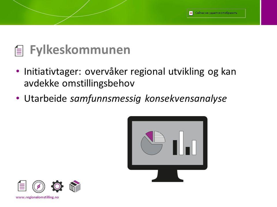 • Initiativtager: overvåker regional utvikling og kan avdekke omstillingsbehov • Utarbeide samfunnsmessig konsekvensanalyse Fylkeskommunen www.regiona