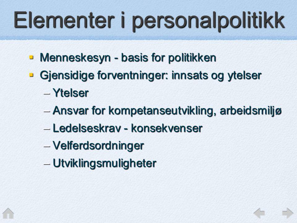 Elementer i personalpolitikk  Menneskesyn - basis for politikken  Gjensidige forventninger: innsats og ytelser –Ytelser –Ansvar for kompetanseutvikl