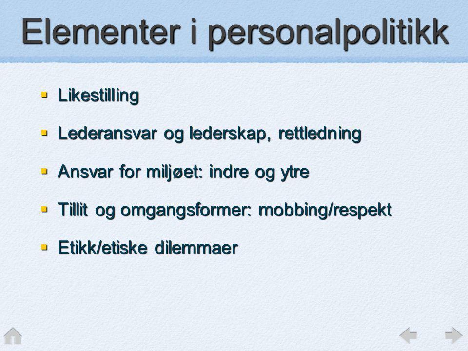  Likestilling  Lederansvar og lederskap, rettledning  Ansvar for miljøet: indre og ytre  Tillit og omgangsformer: mobbing/respekt  Etikk/etiske d