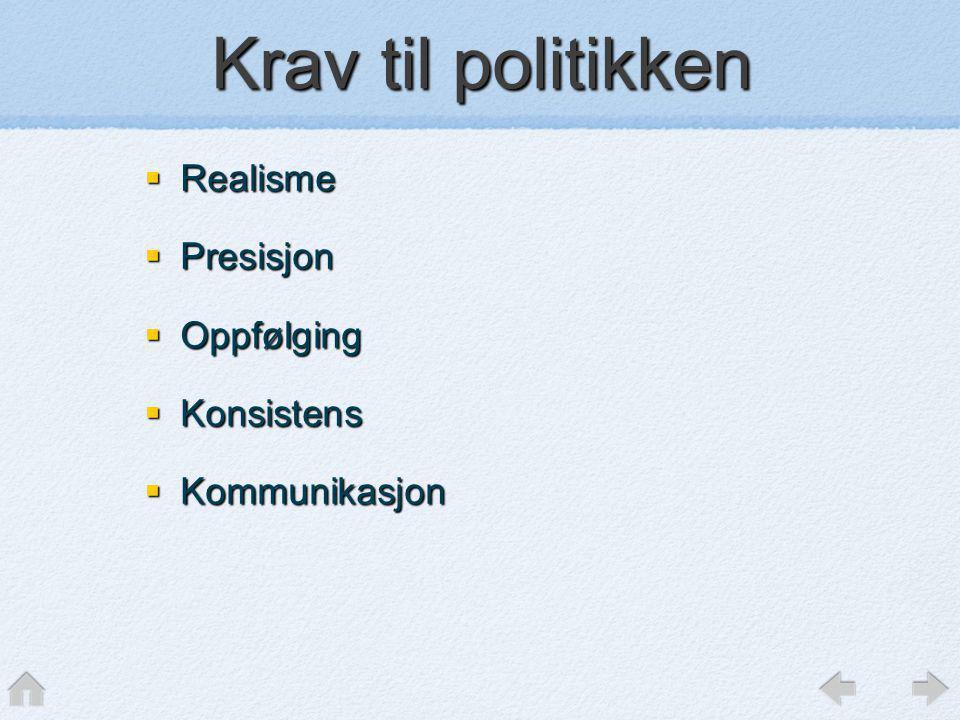 Krav til politikken  Realisme  Presisjon  Oppfølging  Konsistens  Kommunikasjon