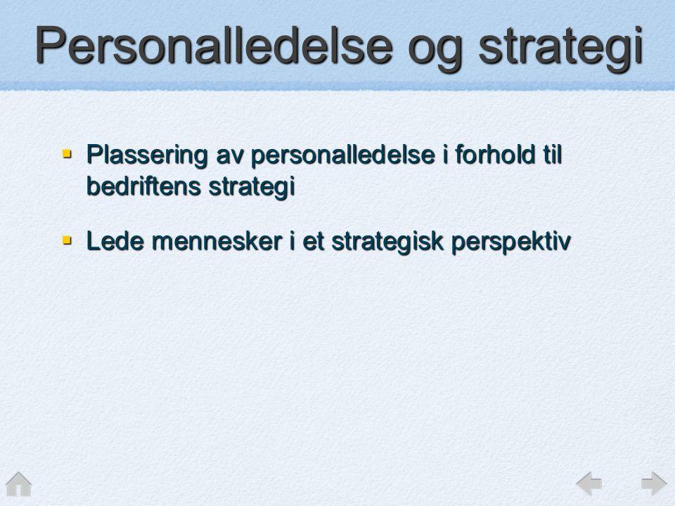 Personalledelse og strategi  Plassering av personalledelse i forhold til bedriftens strategi  Lede mennesker i et strategisk perspektiv