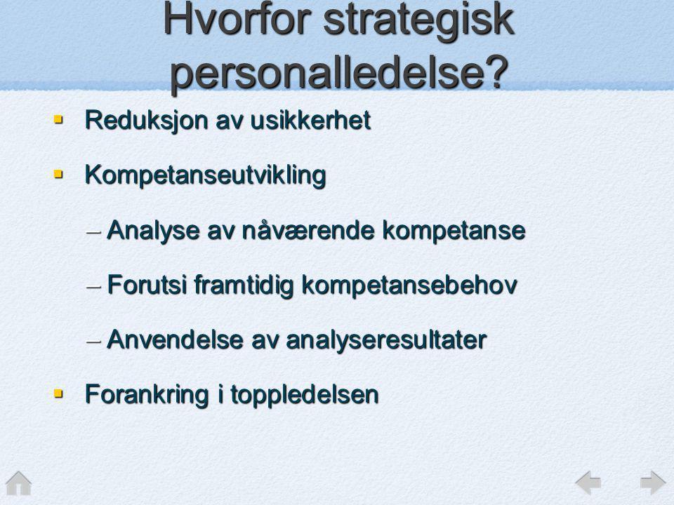 Hvorfor strategisk personalledelse?  Reduksjon av usikkerhet  Kompetanseutvikling –Analyse av nåværende kompetanse –Forutsi framtidig kompetansebeho