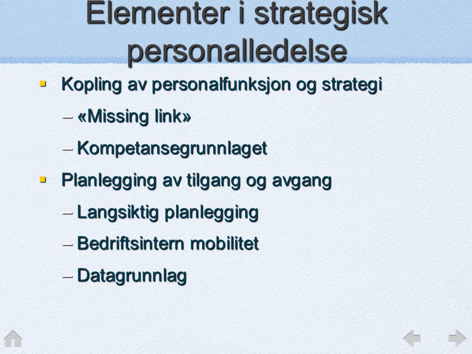 Elementer i strategisk personalledelse  Kopling av personalfunksjon og strategi –«Missing link» –Kompetansegrunnlaget  Planlegging av tilgang og avg