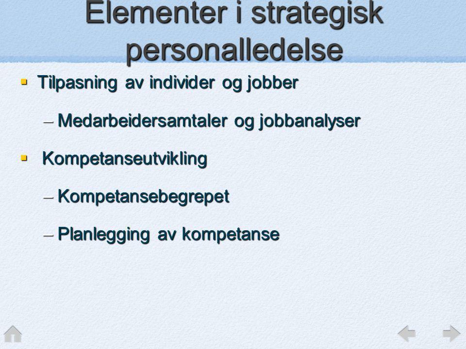  Tilpasning av individer og jobber –Medarbeidersamtaler og jobbanalyser  Kompetanseutvikling –Kompetansebegrepet –Planlegging av kompetanse Elemente