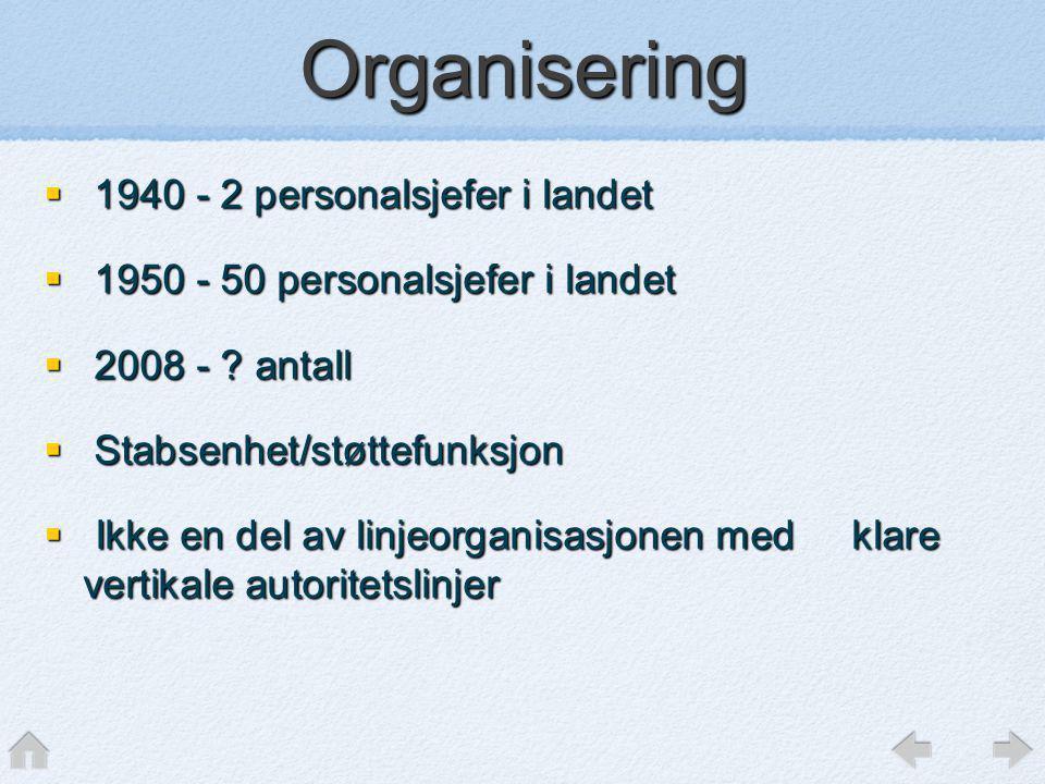 Organisering  1940 - 2 personalsjefer i landet  1950 - 50 personalsjefer i landet  2008 - ? antall  Stabsenhet/støttefunksjon  Ikke en del av lin