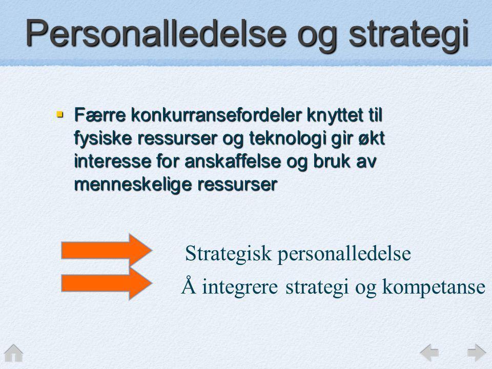 Personalledelse og strategi  Færre konkurransefordeler knyttet til fysiske ressurser og teknologi gir økt interesse for anskaffelse og bruk av mennes