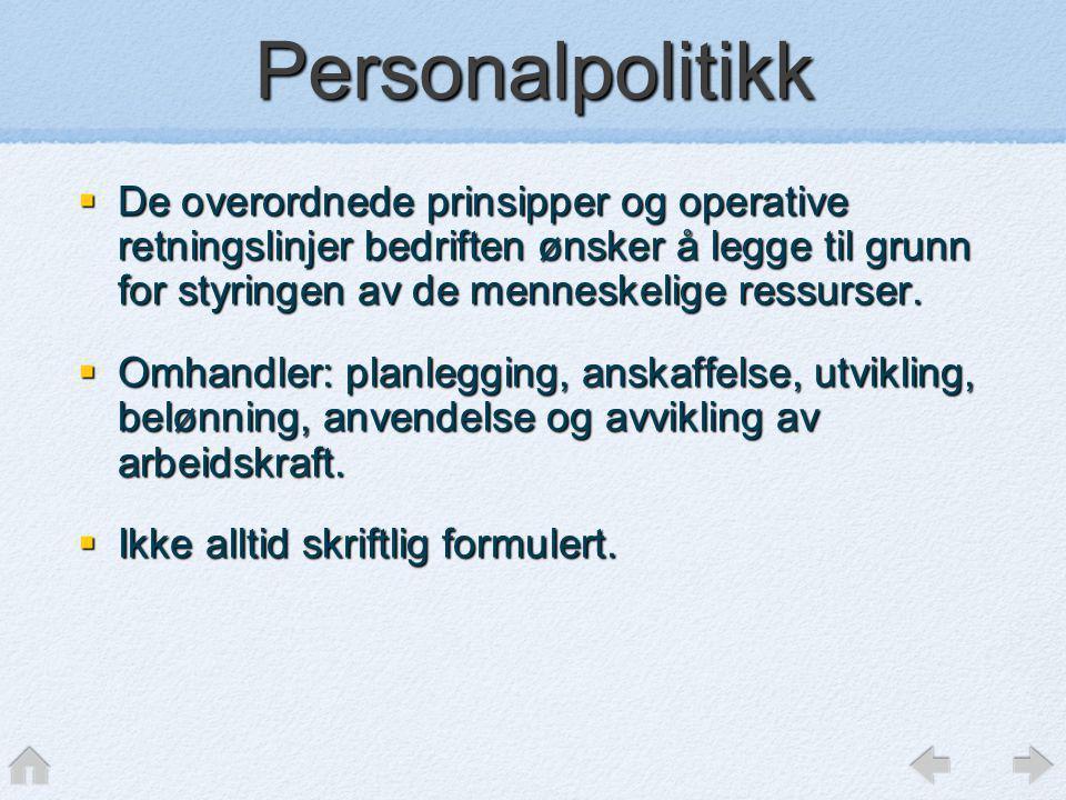 Personalpolitikk  De overordnede prinsipper og operative retningslinjer bedriften ønsker å legge til grunn for styringen av de menneskelige ressurser