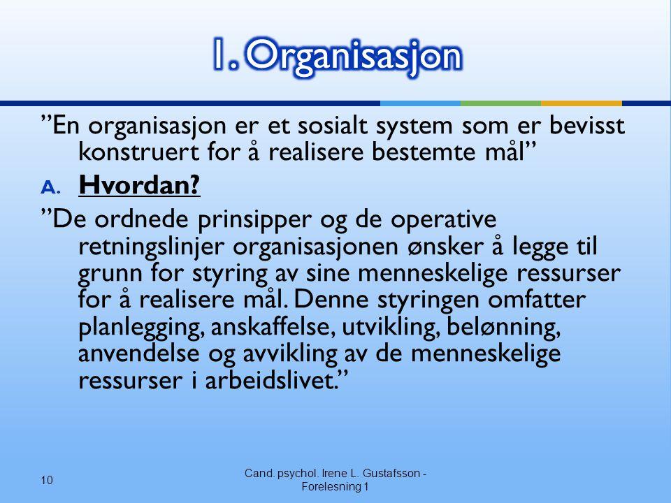 En organisasjon er et sosialt system som er bevisst konstruert for å realisere bestemte mål A.
