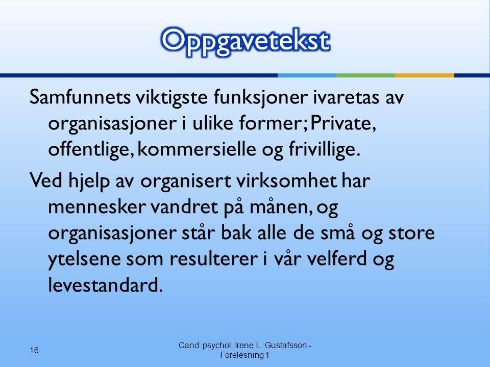 Samfunnets viktigste funksjoner ivaretas av organisasjoner i ulike former; Private, offentlige, kommersielle og frivillige. Ved hjelp av organisert vi