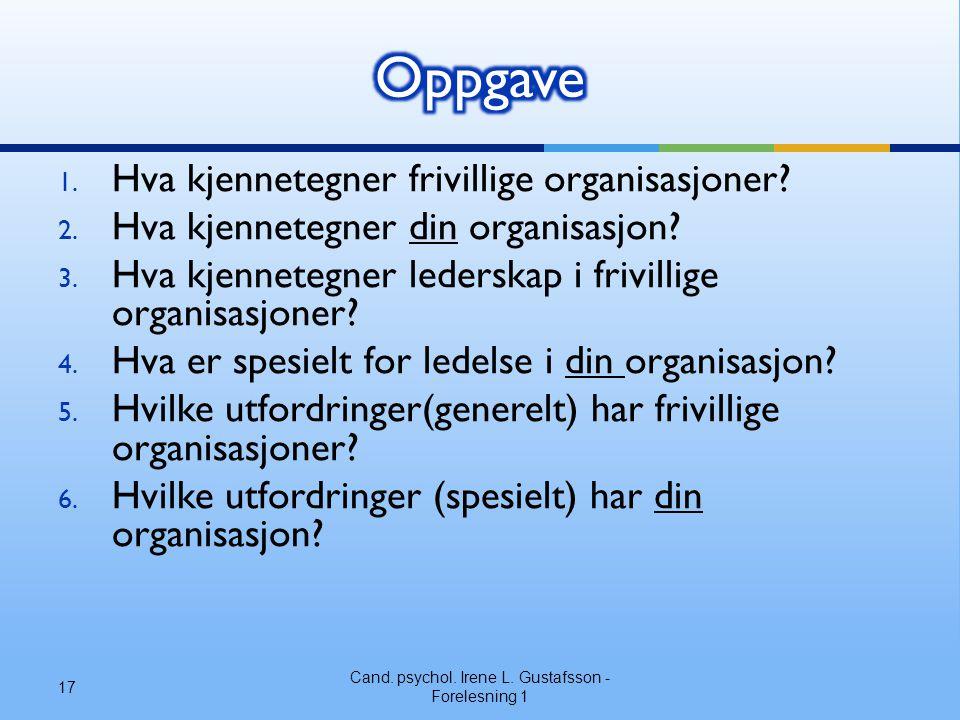 1. Hva kjennetegner frivillige organisasjoner? 2. Hva kjennetegner din organisasjon? 3. Hva kjennetegner lederskap i frivillige organisasjoner? 4. Hva