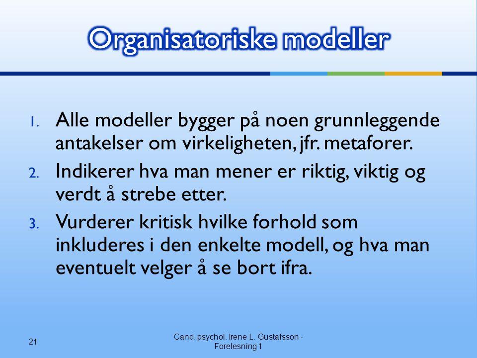 1.Alle modeller bygger på noen grunnleggende antakelser om virkeligheten, jfr.