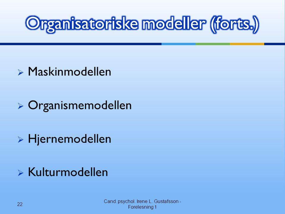  Maskinmodellen  Organismemodellen  Hjernemodellen  Kulturmodellen Cand. psychol. Irene L. Gustafsson - Forelesning 1 22