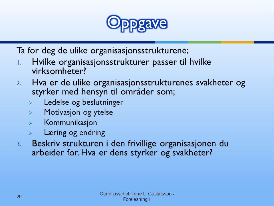 Ta for deg de ulike organisasjonsstrukturene; 1. Hvilke organisasjonsstrukturer passer til hvilke virksomheter? 2. Hva er de ulike organisasjonsstrukt