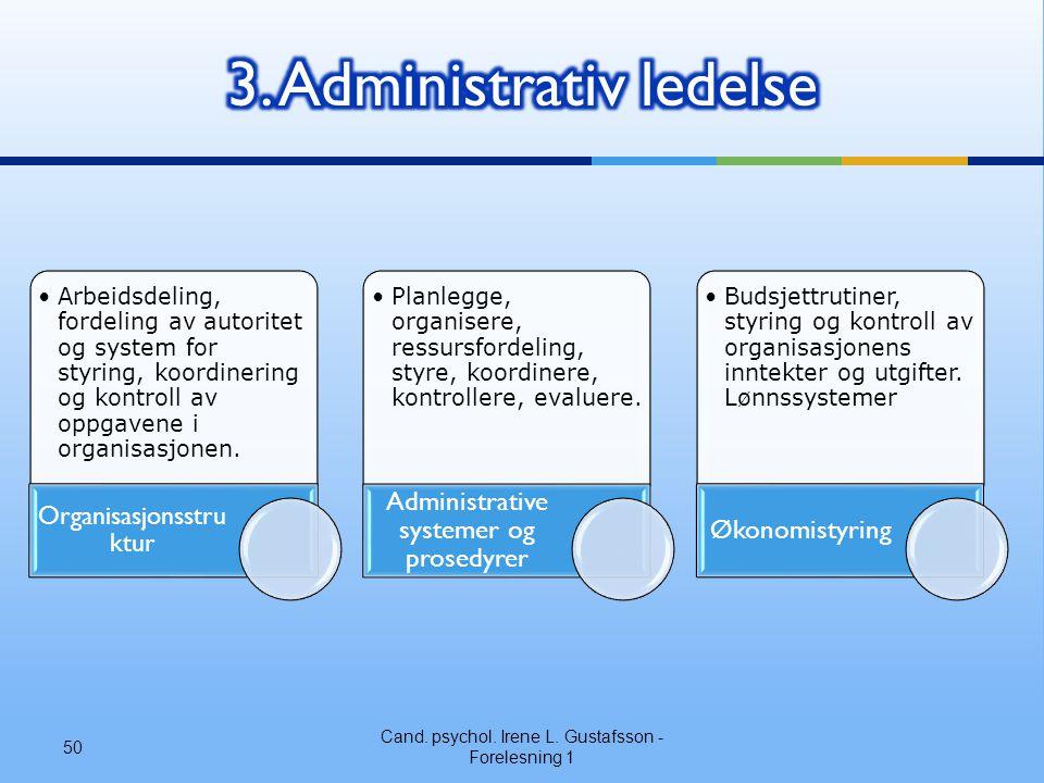 Cand. psychol. Irene L. Gustafsson - Forelesning 1 50 •Arbeidsdeling, fordeling av autoritet og system for styring, koordinering og kontroll av oppgav