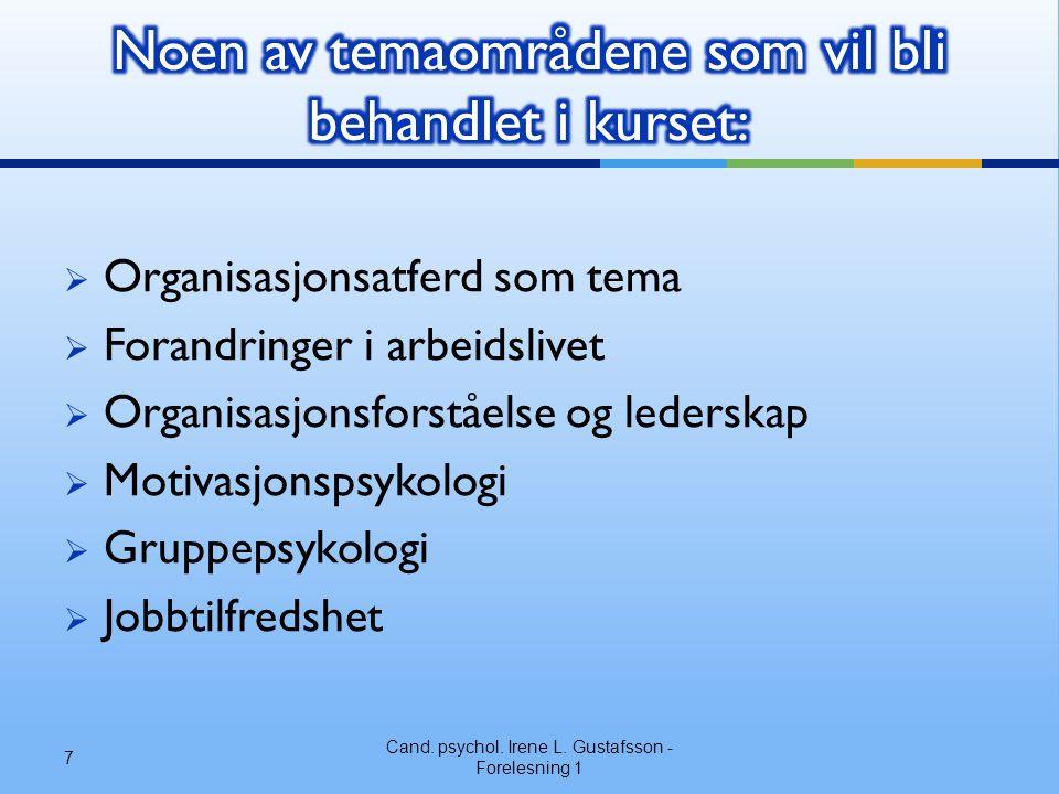  Organisasjonsatferd som tema  Forandringer i arbeidslivet  Organisasjonsforståelse og lederskap  Motivasjonspsykologi  Gruppepsykologi  Jobbtilfredshet Cand.