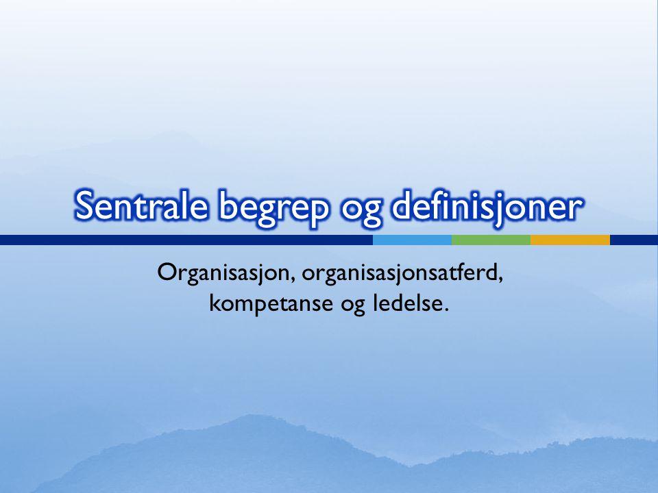 Organisasjon, organisasjonsatferd, kompetanse og ledelse.
