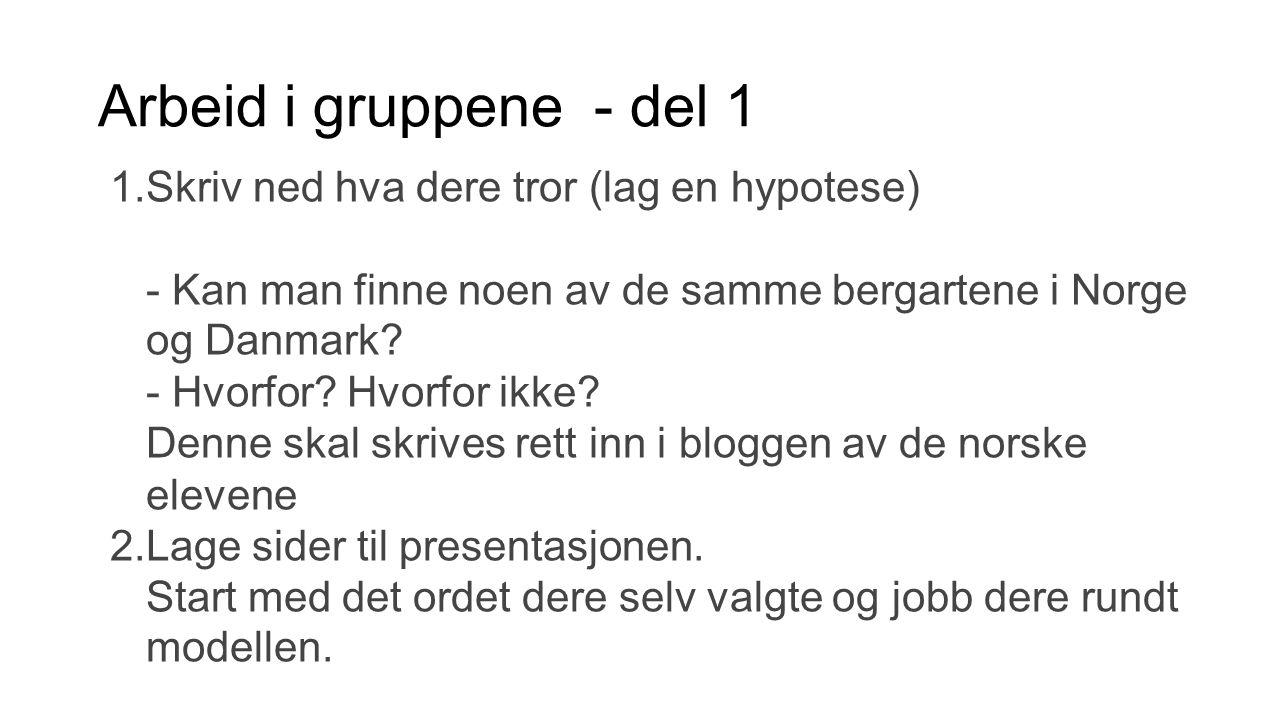 Arbeid i gruppene - del 1 1.Skriv ned hva dere tror (lag en hypotese) - Kan man finne noen av de samme bergartene i Norge og Danmark? - Hvorfor? Hvorf