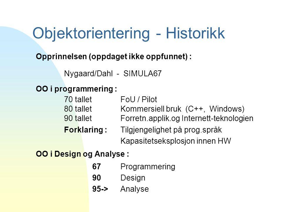 Objektorientering - Historikk Opprinnelsen (oppdaget ikke oppfunnet) : Nygaard/Dahl - SIMULA67 OO i programmering : 70 tallet FoU / Pilot 80 talletKom