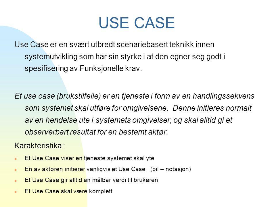 USE CASE Use Case er en svært utbredt scenariebasert teknikk innen systemutvikling som har sin styrke i at den egner seg godt i spesifisering av Funks