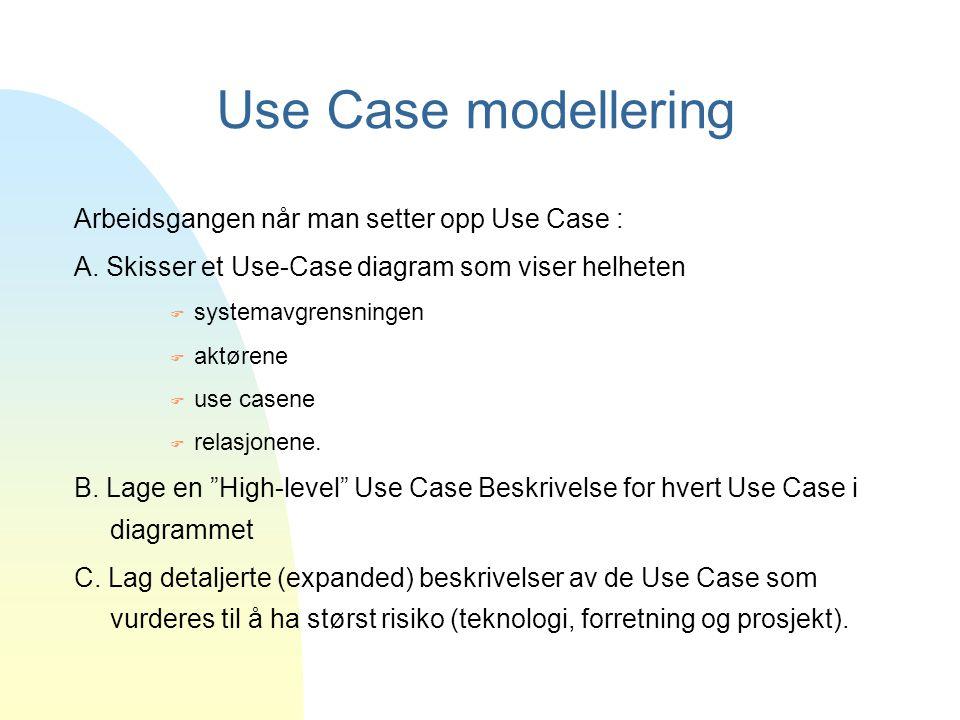 Use Case modellering Arbeidsgangen når man setter opp Use Case : A. Skisser et Use-Case diagram som viser helheten F systemavgrensningen F aktørene F