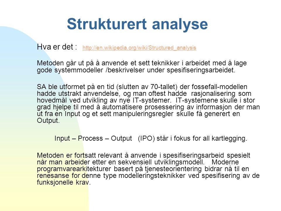 Strukturert analyse Hva er det : http://en.wikipedia.org/wiki/Structured_analysis http://en.wikipedia.org/wiki/Structured_analysis Metoden går ut på å