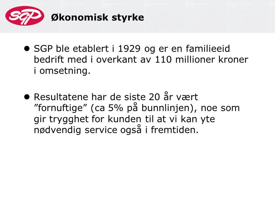 Økonomisk styrke  SGP ble etablert i 1929 og er en familieeid bedrift med i overkant av 110 millioner kroner i omsetning.  Resultatene har de siste