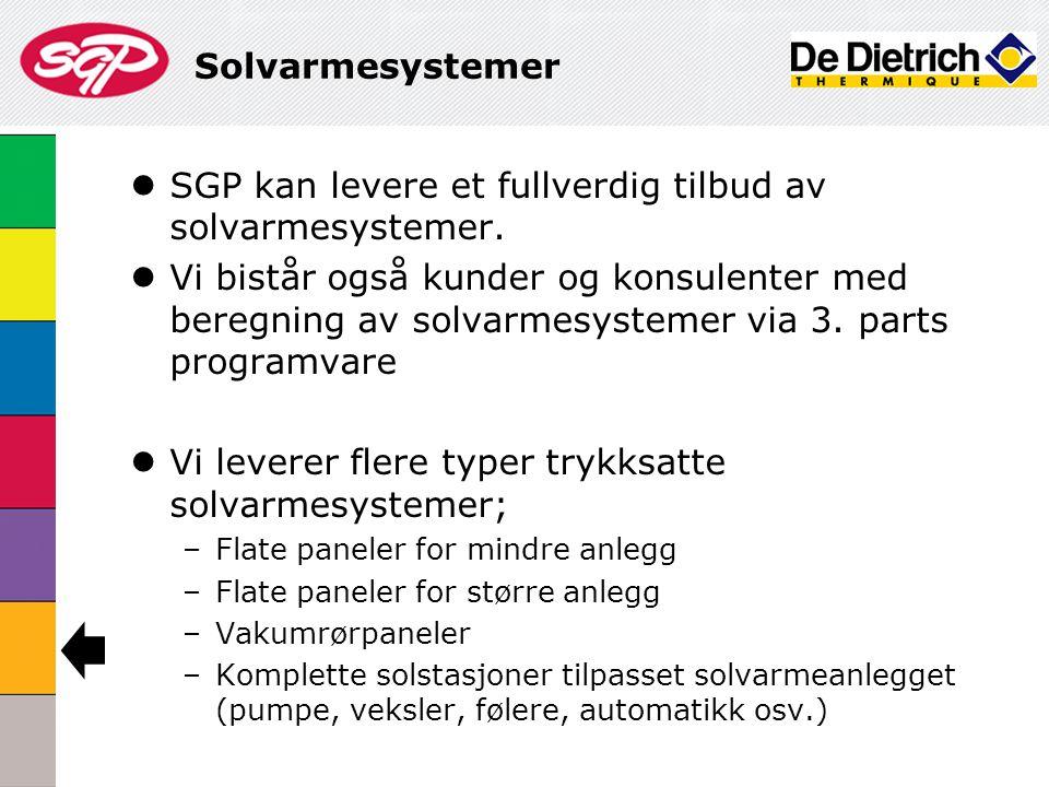 Solvarmesystemer  SGP kan levere et fullverdig tilbud av solvarmesystemer.  Vi bistår også kunder og konsulenter med beregning av solvarmesystemer v