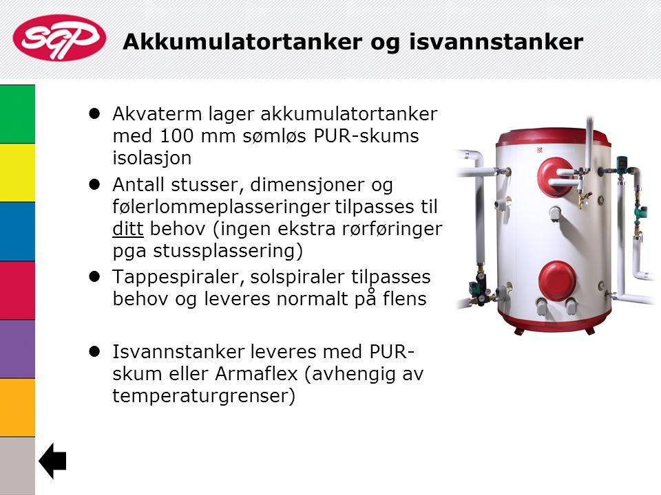 Akkumulatortanker og isvannstanker  Akvaterm lager akkumulatortanker med 100 mm sømløs PUR-skums isolasjon  Antall stusser, dimensjoner og følerlomm