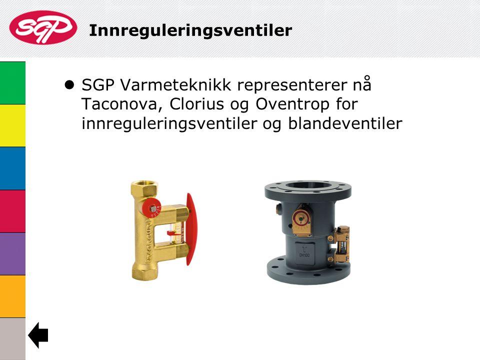 Innreguleringsventiler  SGP Varmeteknikk representerer nå Taconova, Clorius og Oventrop for innreguleringsventiler og blandeventiler