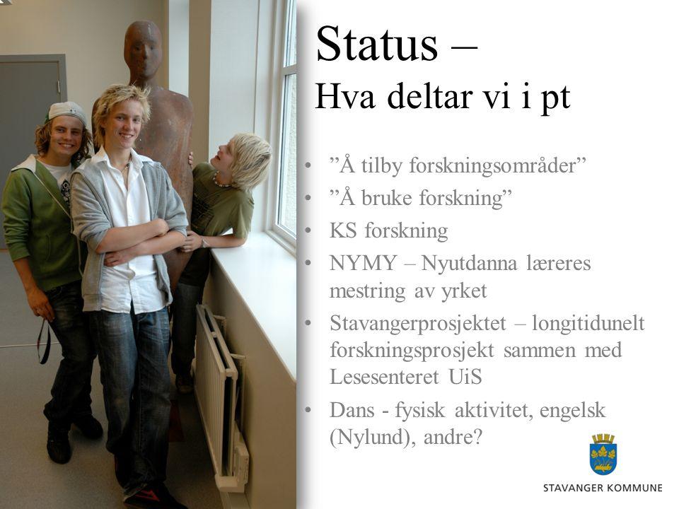 """Status – Hva deltar vi i pt •""""Å tilby forskningsområder"""" •""""Å bruke forskning"""" •KS forskning •NYMY – Nyutdanna læreres mestring av yrket •Stavangerpros"""