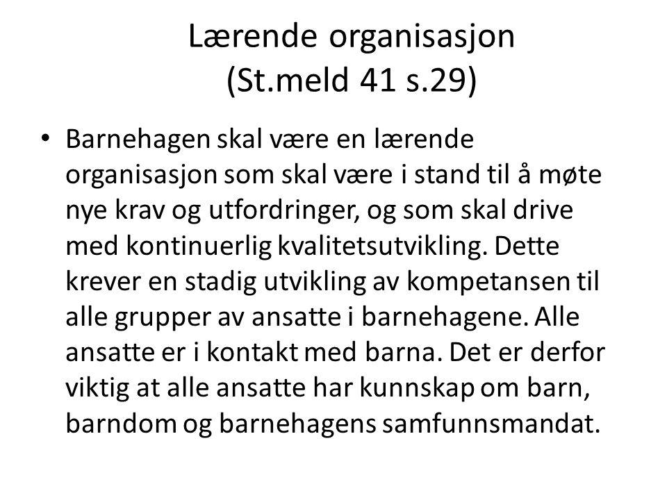 Lærende organisasjon (St.meld 41 s.29) • Barnehagen skal være en lærende organisasjon som skal være i stand til å møte nye krav og utfordringer, og so
