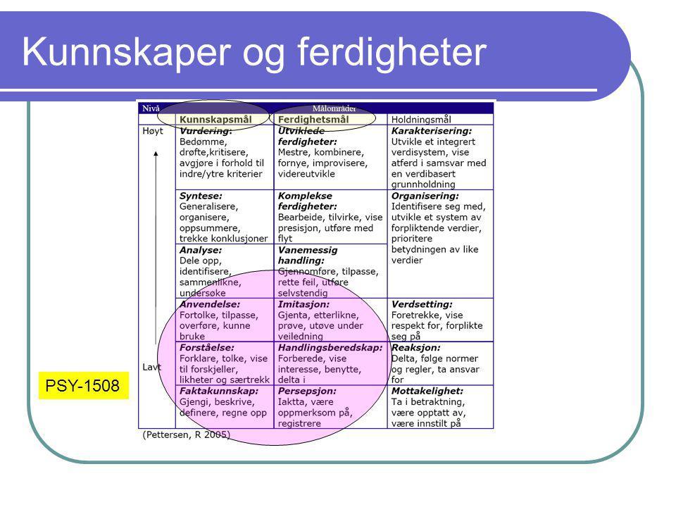 Kunnskaper og ferdigheter PSY-1508