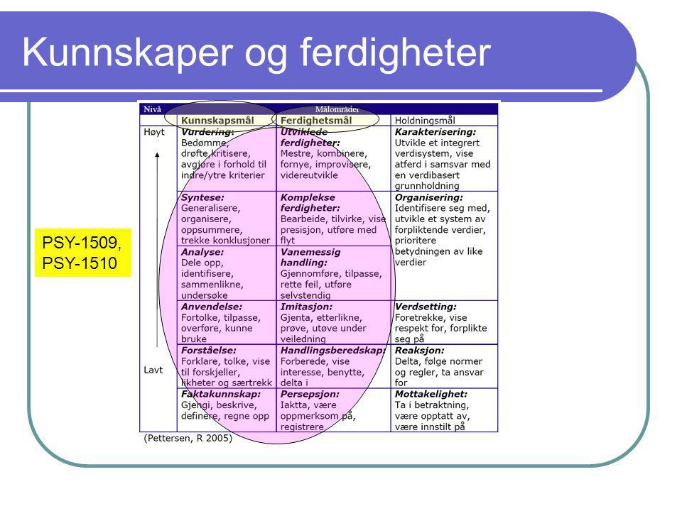 Kunnskaper og ferdigheter PSY-1509, PSY-1510