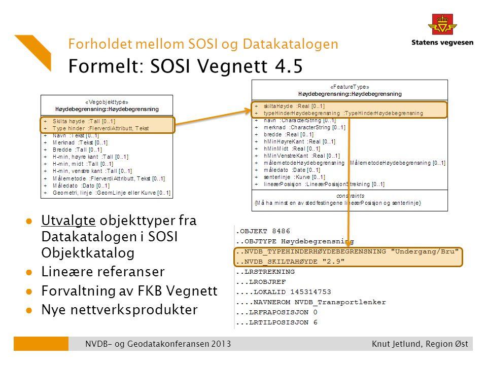 Formelt: SOSI Vegnett 4.5 Forholdet mellom SOSI og Datakatalogen ● Utvalgte objekttyper fra Datakatalogen i SOSI Objektkatalog ● Lineære referanser ●