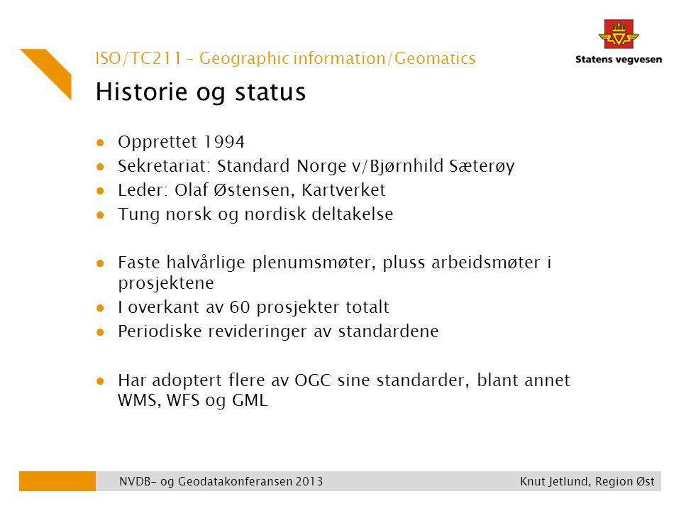 Historie og status ● Opprettet 1994 ● Sekretariat: Standard Norge v/Bjørnhild Sæterøy ● Leder: Olaf Østensen, Kartverket ● Tung norsk og nordisk delta