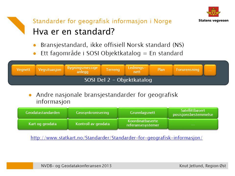 Hva er en standard? ● Bransjestandard, ikke offisiell Norsk standard (NS) ● Ett fagområde i SOSI Objektkatalog = En standard NVDB- og Geodatakonferans